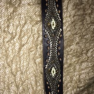 Lucky -100% black leather mosaic belt. Brand new!